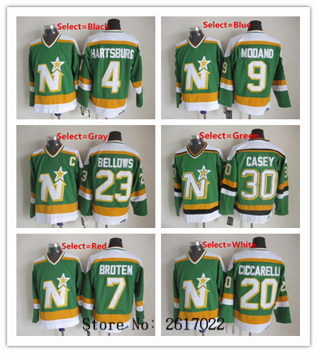 Dallas Stars 20 Dino Ciccarelli Green Authentic Throwback NHL Jersey Mens 9  mike modano 4 Craig Hartsburg 20 Dino Ciccarelli 7 Neal Broten Green Home  ... 289d99aef