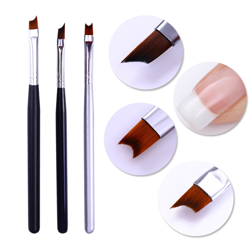 French Tip Nail Brush Silver Black Handle Half Moon Shape Acrylic Painting Drawing Pen Manicure Nail Art Tool