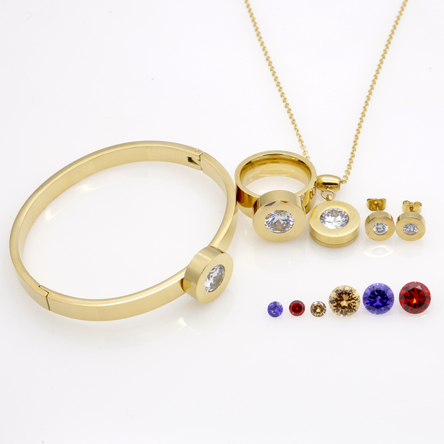 Fashion Brand wedding 18K Gold Stainless Steel 4 Colors Crystal Stones Necklace/Earrings/Bracelet/Ring Jewelry Sets For Women