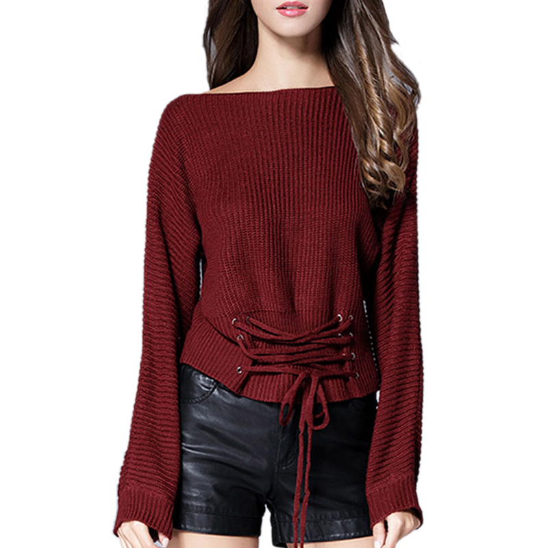 Women Sweaters and Pullovers Winter 2017 Bandage Loose Casual Crop Sweater Tops Long Sleeve Lace Up Knitted Christmas Sweaters