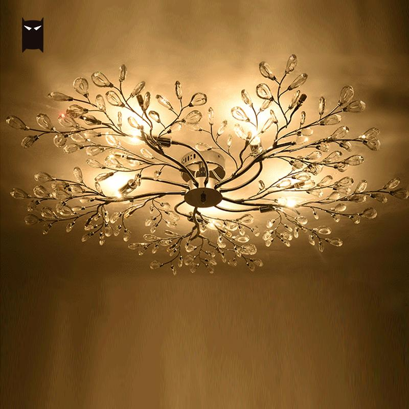 Us 770 0 Silver Iron K9 Crystal Chandelier Fixture Modern Nordic Tree Branch Led Hanging Ceiling Lamp Re Lighting For Living Room In
