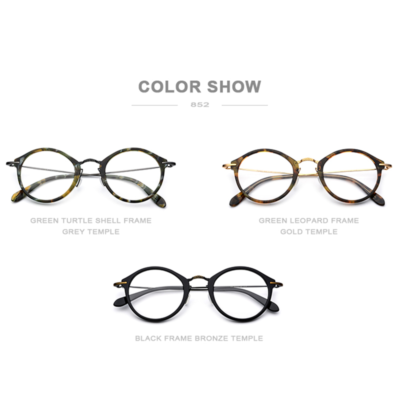 Image 5 - Elastic B Titanium Optical Glasses Frame Women Vintage Round Prescription Eyeglasses Men Retro Myopia Acetate Spectacles Eyewear-in Men's Eyewear Frames from Apparel Accessories