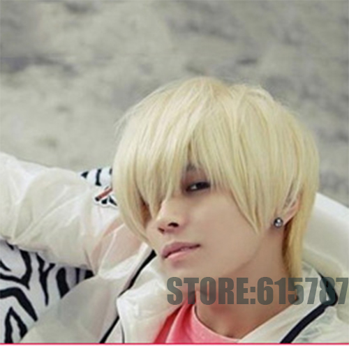 eca87f703 New fashion short hair wig men Wigs Synthetic Korean short mens blonde  white bangs cool male wig cheap wig-in Men's Costumes from Novelty &  Special Use on ...