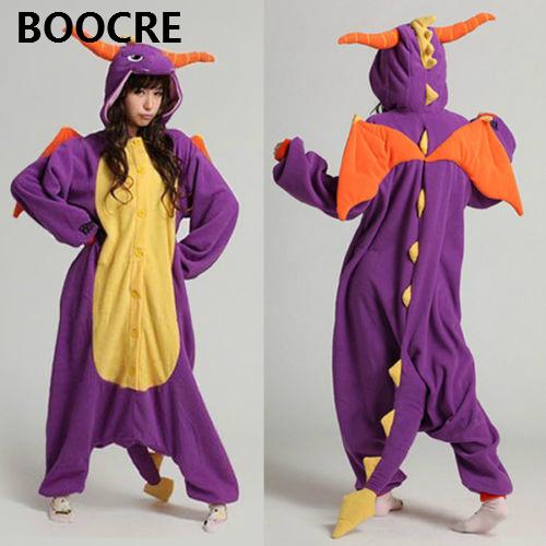 High Quality Adult Unisex Pajamas Cosplay Costume Sleepwear Spyro Dragon pyjamas Animal Onesie pijamas