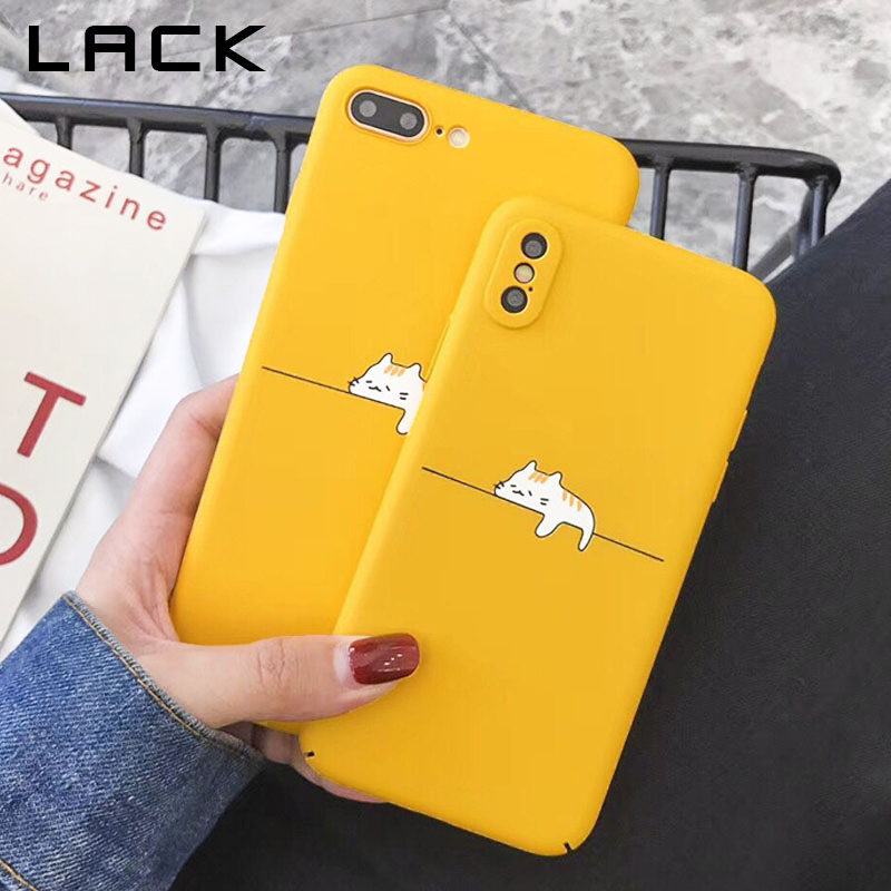 LACK Funny Cartoon Cat Phone Case For iphone X Case For iphone 6S 6 7 8 Plus Fashion Hard PC Full Protect Cases Yellow Cover