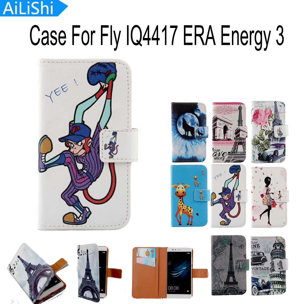 AiLiShi Accessory New Flip Cover Skin Pouch With Card Slot Drawing Design PU Leather Case Phone Case For Fly IQ4417 ERA Energy 3