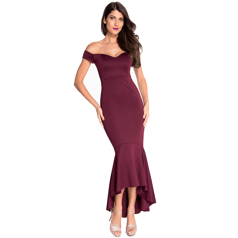 Womens Off-shoulder Elegant Mermaid Dress Summer Autumn Formal Dresses For Special occasion
