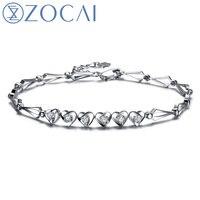 ZOCAI HEART TO HEART 0 25 CT CERTIFIED SI H DIAMOND 18K WHITE GOLD CHAIN BRACELET