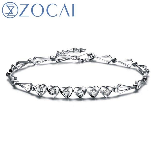 ZOCAI BRAND HEART TO HEART 0.25 CT CERTIFIED SI /H DIAMOND 18K WHITE GOLD CHAIN BRACELET BRACELETS JEWELRY BANGLE S00314