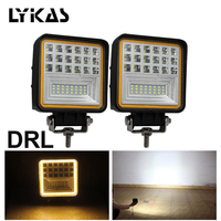 LYKAS 48W Square LED Work Lights Flood Beam With Amber DRL Offroad ATV Truck Tractor Motorcycle