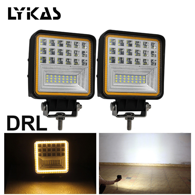 LYKAS 48W Square LED Work Lights Flood Beam with Amber DRL Offroad ATV Truck Tractor Motorcycle Driving Fog Lights