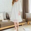 Novedades Mujer Vintage Vestido Modal Camisas de Dormir Camisones Casa Sólida Ropa de Dormir Camisón Cómodo hembra Elegante # HH38