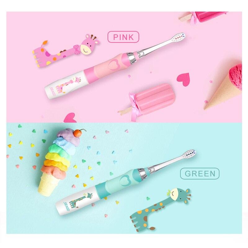 SEAGO profesional Sonic cepillo de dientes niños dibujos animados cepillo de dientes eléctrico impermeable suave higiene Oral dientes masaje cuidado SG677