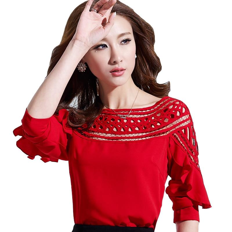 Bordado estilo señora moda Chiffon camisas más tamaño S-3XL buena calidad  ahueca hacia fuera el diseño ropa mujer Casual blusas blanco 48f92814e5ca3