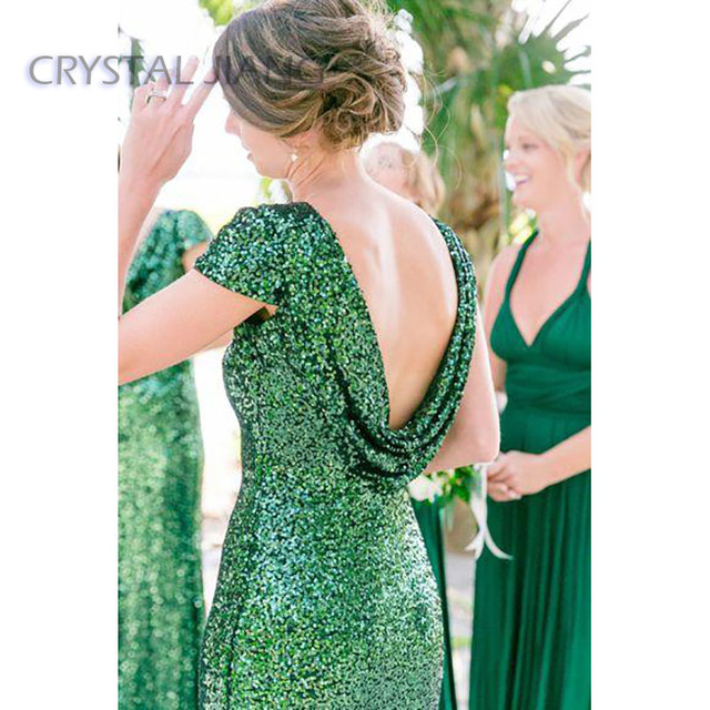Elegance Emerald Green Bridesmaid Dresses 2018 Backless Long Sheath Gown