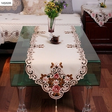 Vezon New Elegant Polyester Embroidery Table Runners Embroidered Floral  Cutwork Table Cloth Cover Home Decoration Textile