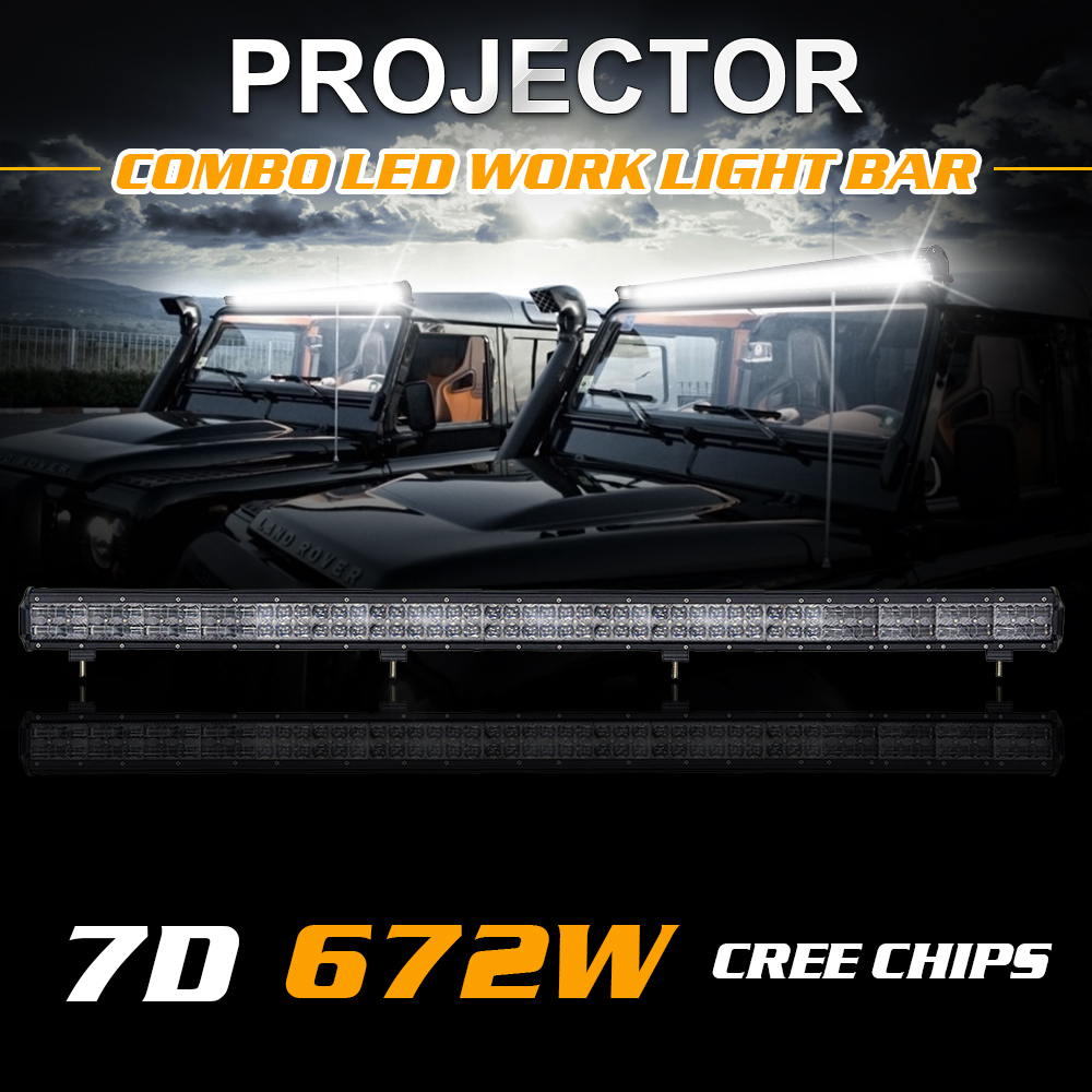 45Inch 672W 50Inch 672W 51Inch 700W External Lamp 7D Combo LED Work Light Bar Cree Chips 67200LM 70000LM Daytime Running Lights