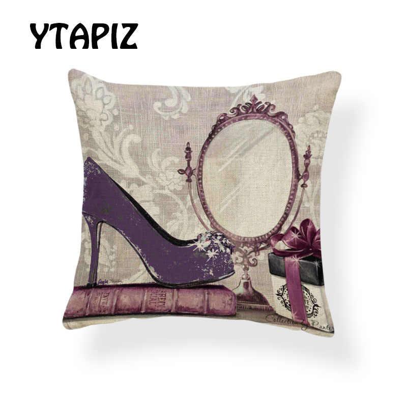 Модные наволочки на высоком каблуке с цветочным рисунком, розовый, зеленый, красный, фиолетовый, синий, юбка, украшение из букв бабочки, наволочка для дивана