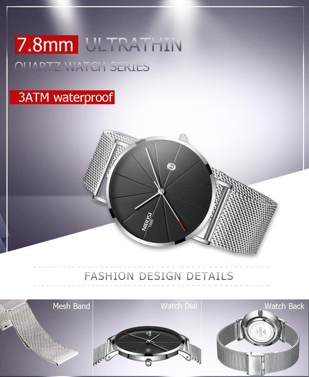 NIBOSI watch men black quartz wristwatches stainless steel mesh brand  watches men ultra thin quartz relogio masculino dourado (2)