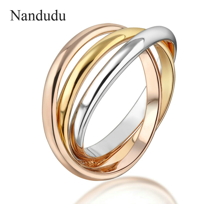 Nandudu 3-in-1 Ring Three Colors Special Design New Fashion Women Female Rings Jewelry Gift Accessories R1433