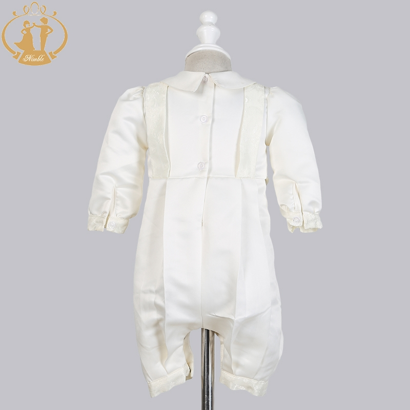 Image 3 - Nimble Baby Boys Christening Gowns Satin Formal Occasion Boys Romper newborns clothes Ivory Kids Baptism Dresses 0 12M-in Clothing Sets from Mother & Kids