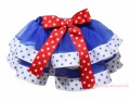 4th July Blue White Star Trimmed Tutu Dance Baby Girl Skirt Red Bow NB-8Y
