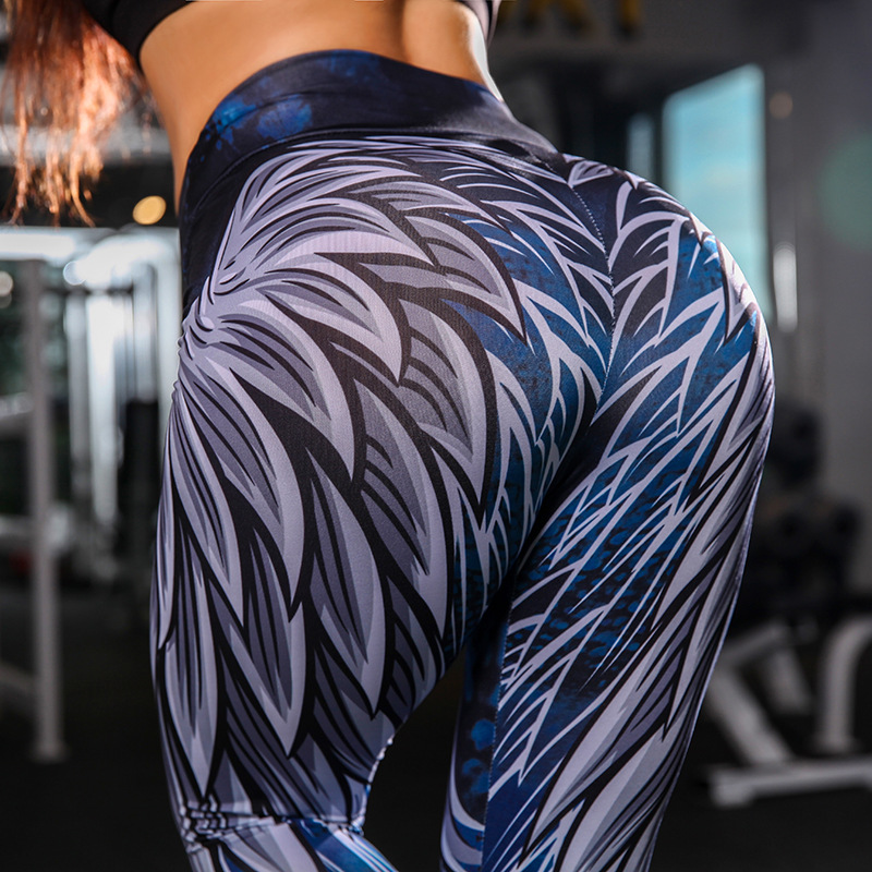 LUSLOS Angles Wing Women High Waist Leggings Fitness Push Up Workout Leggings Legins Women Price $9.90