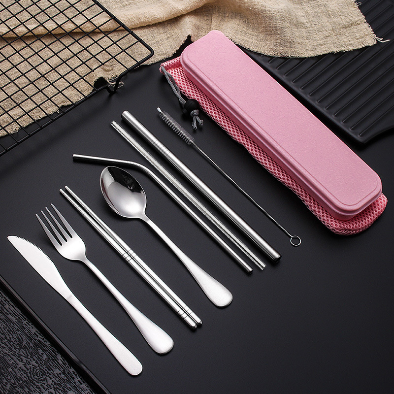 8pcs Stainless Steel Cutlery Set Silverware with Metal Straw Chopsticks Storage Case and Bag cubiertos de acero inoxidable-in Dinnerware Sets from Home & Garden