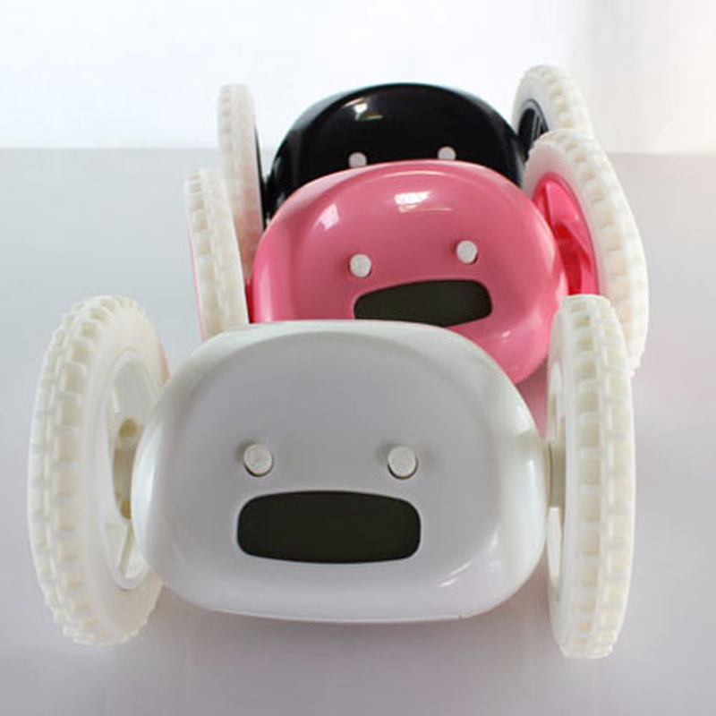 Reloj despertador para correr, Escape con ruedas, pantalla LCD de pantalla Digital, reloj desbocado, reloj de ruedas móviles para dormitorio, sala de estar