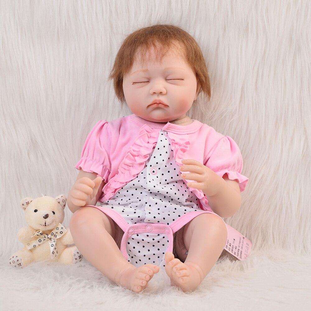 Lovely Silicone Baby 22 Vinyl Reborn Dolls 55 cm Lifelike Princess Cloth Body Newborn Baby Doll Sleeping Girl For kids Playmate