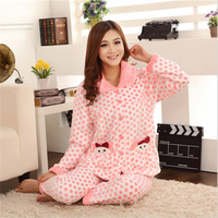 Autumn Winter Long Sleeves Small Dots Pajamas Flannel Women Leisure Home Clothing Lapel Cardigan Top Red