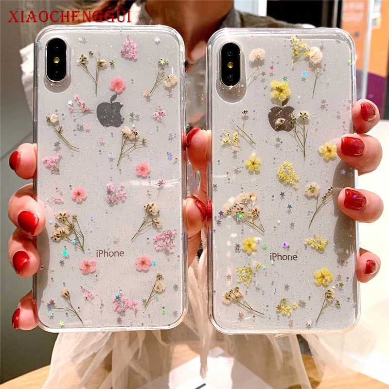 Dried Real Flower Handmade Clear Pressed Phone Case For iPhone 6 6S 7 8 Plus X XS Max XR 11pro max Case Soft TPU Back Cover Capa