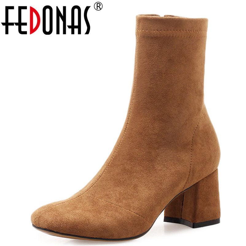 FEDONAS 1Fashion Women Ankle Boots Autumn Winter Warm High Heels Shoes Woman Square Toe Elegant Office Lady Quality Basic Boots elegant women low high heels ankle boots pointed toe patchwork autumn winter shoes woman basic motorcycle boots dr b0038