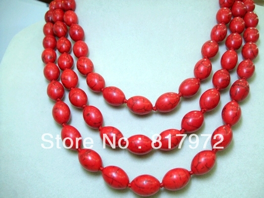 Glamour Oval Red Coral Bead Handmade Necklace Woman Party Gift Length 54.6 Inch Simple Style