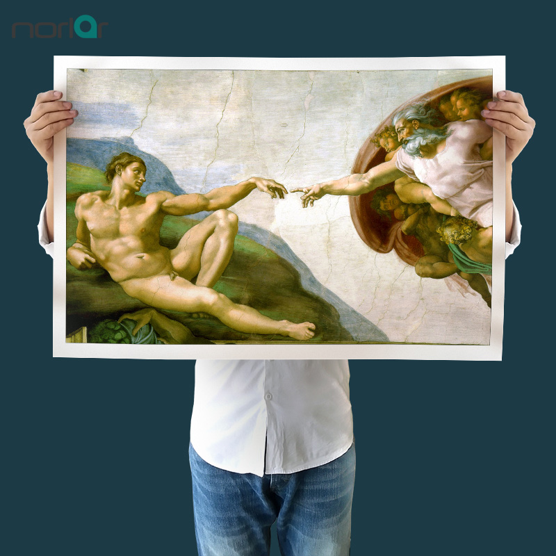 Canvas Painting Wall Art Di Lodovico Buonarroti Simoni (1475 - 1564) Creation Of Adam Famous Painting Reproductions No Frame