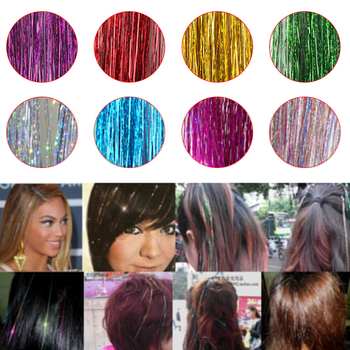 100~120pcs/bag Sparkle Hair Tinsel Bling Hair Decoration For Synthetic Hair Extension Glitter Rainbow For Girls And Party
