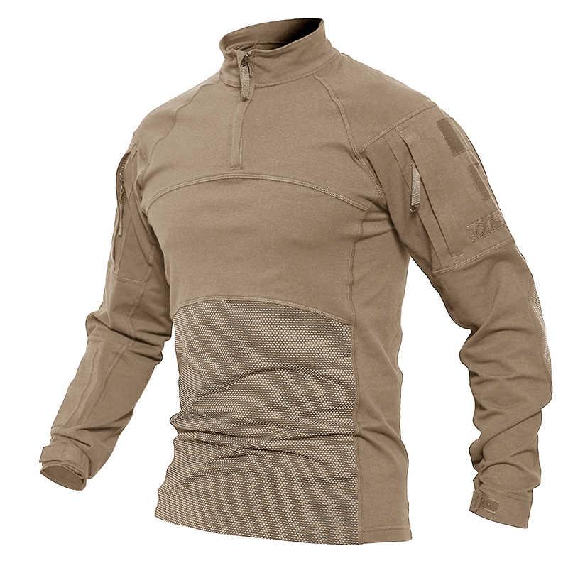 TACVASEN Männer Quick Dry Tactical T-shirt Lange Ärmel Armee Militär Shirt T Shirt Patchwork Plus Größe Jagd Angeln T Shirts