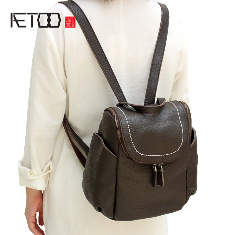 AETOO First layer of leather shoulder bag female bag Korean version of the school wind simple wild casual elephant pattern durab new korean version of the first layer of leather pillow bag large lychee pattern handbag shoulder messenger fashion leather leat
