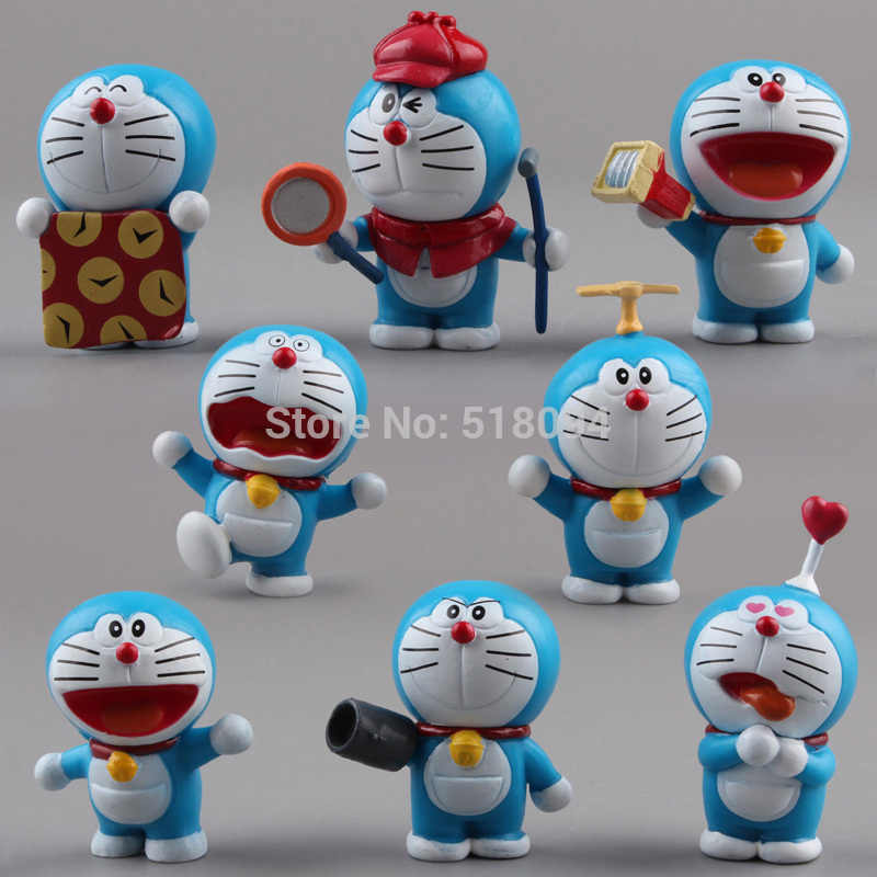 Anime Cartoon Cute Doraemon Mini PVC Figure Model Toys Dolls 8pcs/set Child Toys Christmas Gifts DRFG031