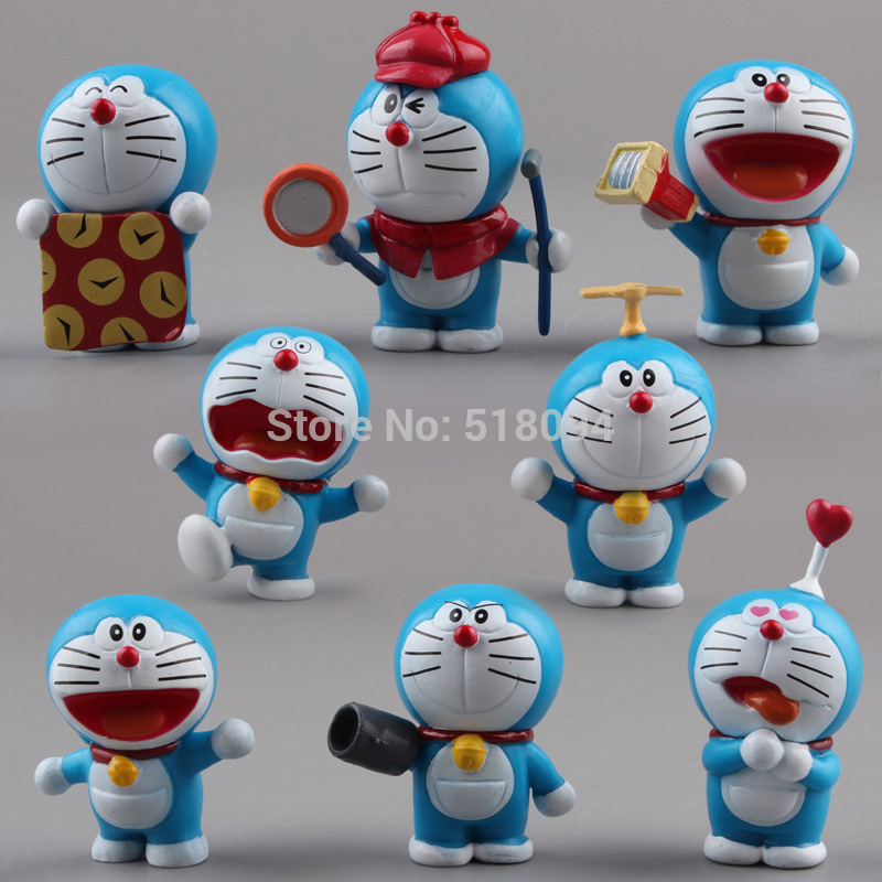 Anime Cartoon Cute Doraemon Mini PVC Figure Model Toys Dolls 8pcs/set Child Toys Christmas Gifts DRFG031 free shipping hello kitty toys kitty cat fruit style pvc action figure model toys dolls 12pcs set christmas gifts ktfg010