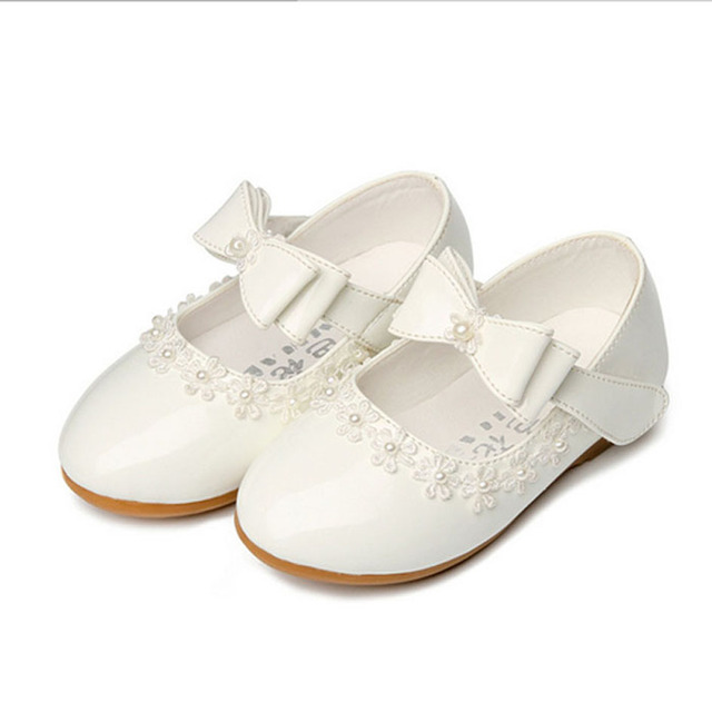 2017 Lace Flowers Baby Girls Princess Shoes For Wedding Children's Ballet Flats Kids Girls Party Dress Shoes Toodlers Footwear