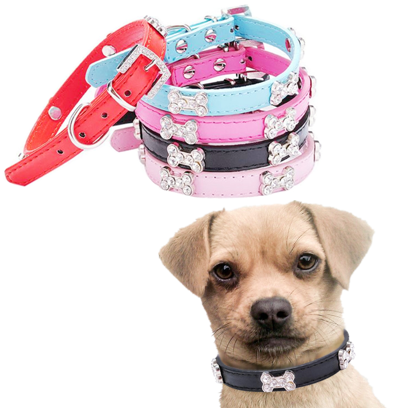 Pet Collars Pu Leather XS S M Dog Collar Bling Crystal With Bone Necklace Pet Puppy Cat Sweet Rhinestone Dog Collar D16