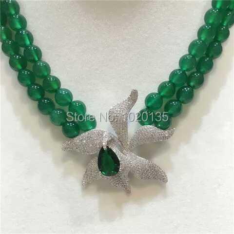 2rows grüne JADE runde Halskette 10mm 18-19inch Großhandelsnatur - Edlen Schmuck - Foto 4