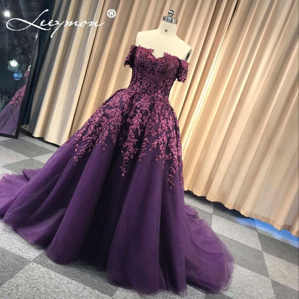 Lila Vestidos de Noiva Bollklänning Lace Evening Dress Lång Av Axel - Särskilda tillfällen klänningar - Foto 2