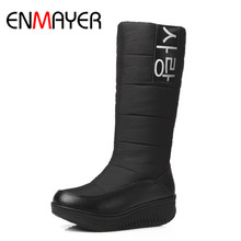 ENMAYER 3 Color White Shoes Woman Low Heels Wedges Size 35-44Winter Boots Platform Round Toe Mid-calf Snow