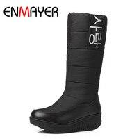 ENMAYER 3 Color White Shoes Woman Low Heels Wedges Shoes Size 35 44Winter Boots Platform Shoes
