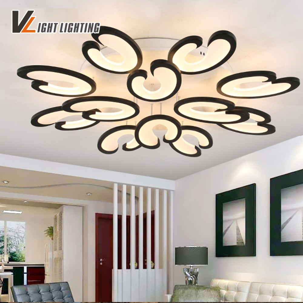 VLIGHT Acrylic Modern Led Ceiling Lights  For Living Study Room Home Dec White lustre plafonnier ceiling Fixtures verlichting black or white rectangle living room bedroom modern led ceiling lights white color square rings study room ceiling lamp fixtures