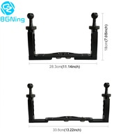 Dual Hand held Photography Diving Bracket Mount for Sports DSLR SLR Camera Waterproof Case Frame Cage Stand Holder Tray Kit
