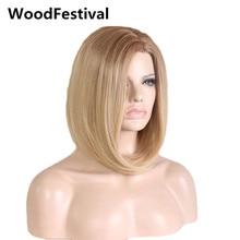 Düz sentetik kısa bob peruk kadın sentetik saç ombre sarışın peruk koyu kökleri isıya dayanıklı WoodFestival