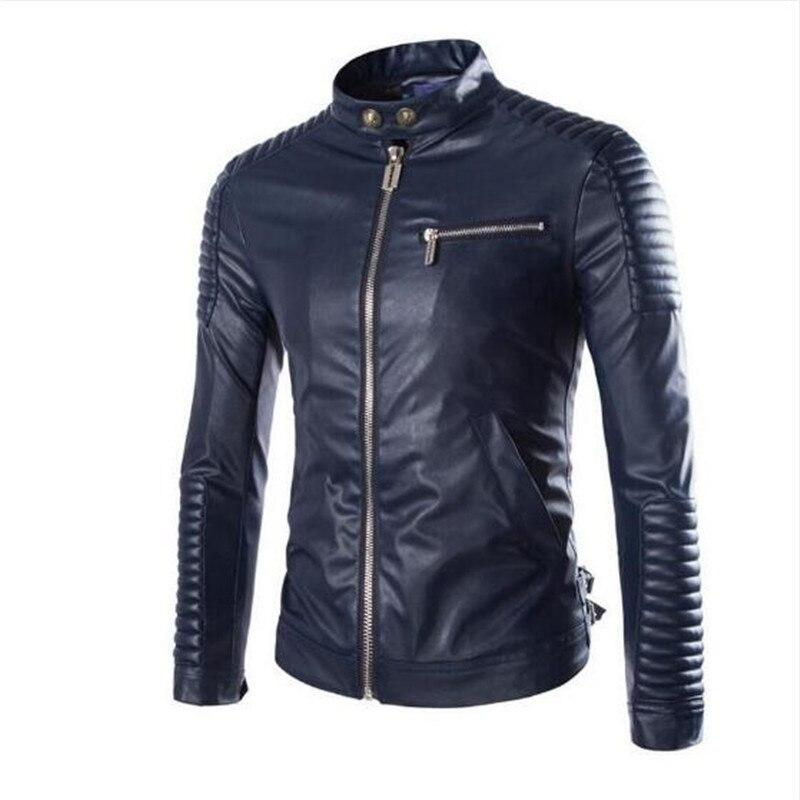 High Quality Leather Coat 2018 New Style Men Leather Jacket Coat Men Mandarin Collar Casual White Leather Coat